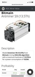 Bitcoin mining bitmain s9 13.5TH with power supply