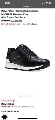 Michael Kors Black Allie Trainer Sneakers. Size 7