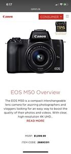 canon m50 brand new camera with lens