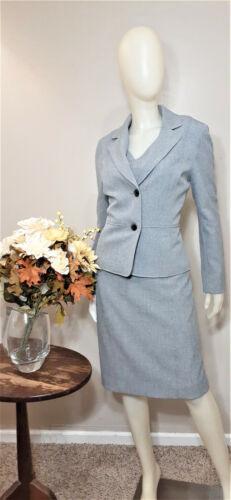 KASPER Grey Print Textured 2-Piece Dress and Jacket-Size 8