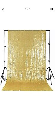 Gold Shimmer Curtains (4ftx7ft Shimmer Sequin Fabric Photography Backdrop Gold Curtain)