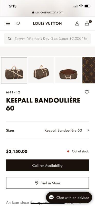 Louis Vuitton Monogram Keepall 60 Bandouliere Boston Bag