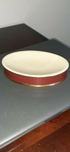 6 1/4 in.VINTAGE CERAMIC VERATEX SOAP DISH MAROON AND GOLD TRIM