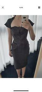 MATICEVSKI grey gray silk pencil dress sz 8 S rrp699 Docklands Melbourne City Preview