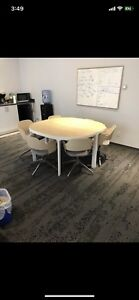 Round Table with 6 chairs Table splits into half!
