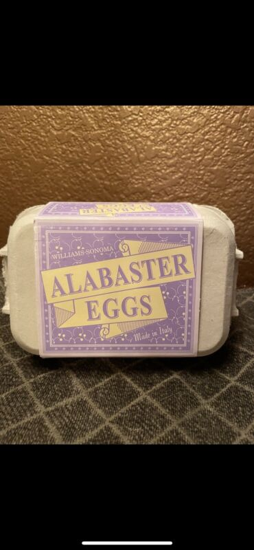 Williams Sonoma Set 6 Alabaster Eggs iMade in Italy