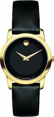 Movado Museum Classic Swiss Black Dial Gold Tone Leather Women Watch 0606877 SD9