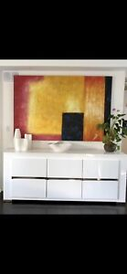 Large abstract oil on canvas painting 41x71