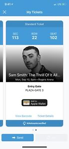 2 tickets of Sam Smith Vancouver Concert