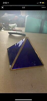 Blue Glass And Brass  Pyramid shadow box display case Curio -
