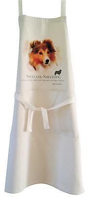 Shetland Sheepdog Sheltie Natural Cotton Apron Double Pockets Baking Cooking