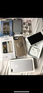 iPhone 7 Plus Silver w/ Lumee case and other accessories