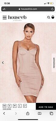 House Of CB LAFAYETTE Blush Satin Quilted Corset Dress Size XS