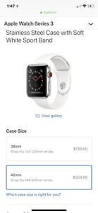 Apple Watch 3 42mm cellular, stainless steel case