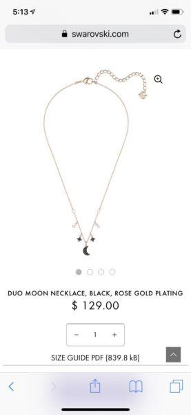 f549b7d9faf5 Swarovski duo moon necklace rose gold