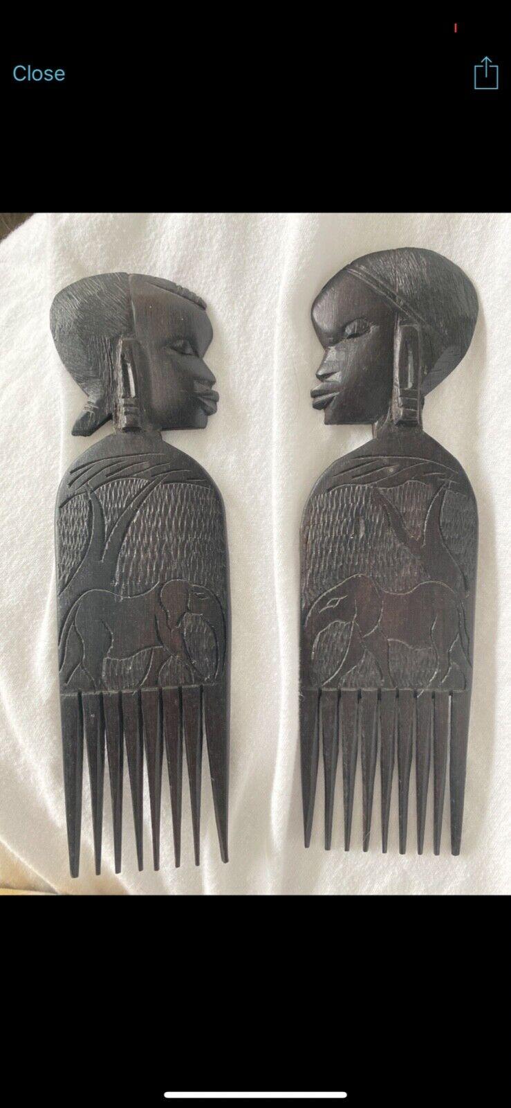 Set Of 1960s Vintage Black Ebony Wood African Carved Hair Combs/Picks - $0.99