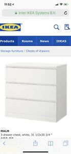 I'm looking to buy ikea white malm 3 drawer dresser