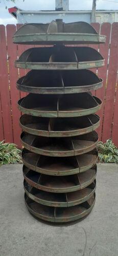 "Antique 28"" Diameter Rotabin Revolving Parts Storage Bins Shelving Quality USA"