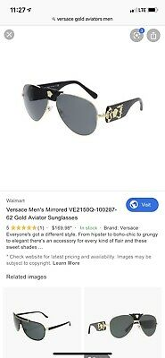 Versace VE 2150Q 1002 87 Sunglasses Gold-Black Frame Grey Lens