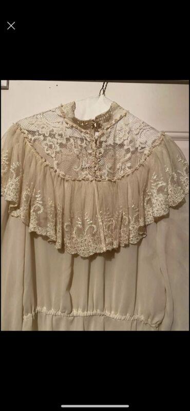 Vintage Edwardian Victorian Lace Dress Sz Med