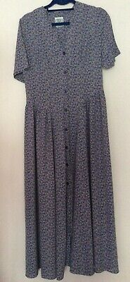 vintage 80s 90s Laura Ashley lilac blue floral button maxi prairie dress 10 12