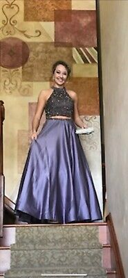 Blush Prom Dress Purple Two Piece Gown Size 6 Bridesmaid Party Formal Pageant Two Piece Bridesmaid Gowns