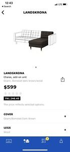Ikea Méridienne Cuit Chaise long leather Landskrona usé 1 an