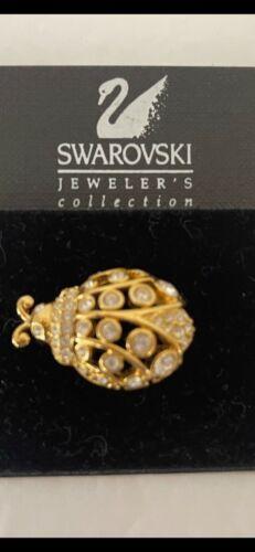 "SWAROVSKI CRYSTAL LADYBUG BEETLE PIN NEW & SWAN SIGNED 1 1/2""x 1"""