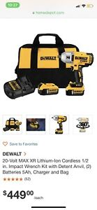 Dewalt 1/2 in 20 V impact wrench, 2 batteries/charger brand new