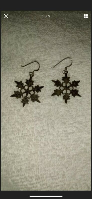 Sterling Silver .925 LARGE Snowflake Earrings Holiday Special Christmas Jewelry