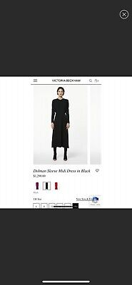 Victoria Beckham Dolman Sleeve Midi dress in black brand new with tags, size 6
