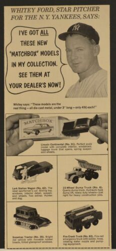 1966 Print Ad Whitey Ford NY Yankees Matchbox Cars Dump Truck Lincoln Fire Truck