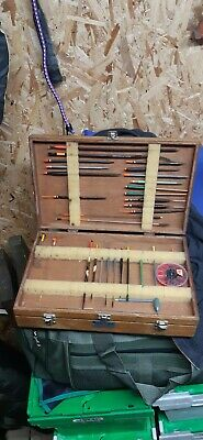 Vintage Wooden Fishing Tackle Box with Contents