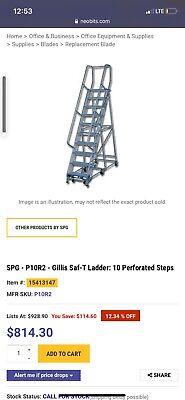 Steel Industrial Rolling Ladder 10 Step Blue Brand New Heavy Duty