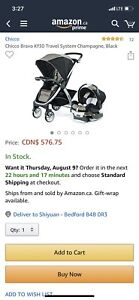 2 month old Chicco stroller and car seat - Mint condition!