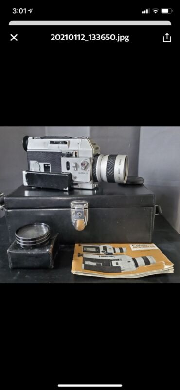 Canon Auto Zoom 814 Super 8 Camera f/1:1.4 Light, Light Meter, Cable