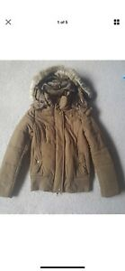 Witchery khaki brown puffer coat jacket xs 6 as new Docklands Melbourne City Preview