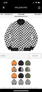 Supreme Ma-1 Reversible checkered bomber jacket