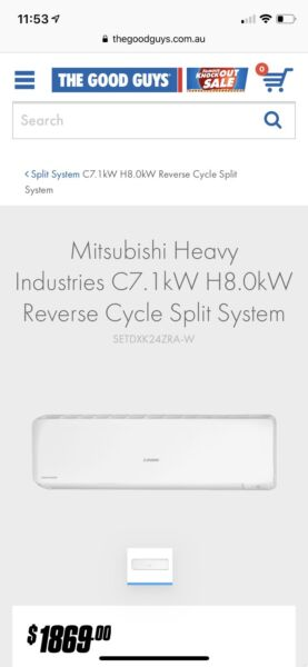 Mitsubishi Bronte 7 1Kw Reverse Cycle Split System Air Conditioner