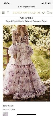 Costarellos Tiered Embellished Printed Organza Gown. Original Price $3,285