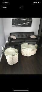 Catalina Coffee Table and side table glass set