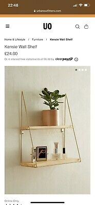 Urban Outfitters Kensie Wall Shelf. Wood/Gold. RRP £24