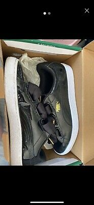 Womens Puma Basket Heart Patent Black Trainers Size 6 (39)