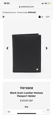 Versace Black Grain Leather Medusa Passport Holder