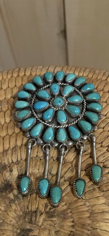 Vintage Native American Sterling Silver & Turquoise Pin