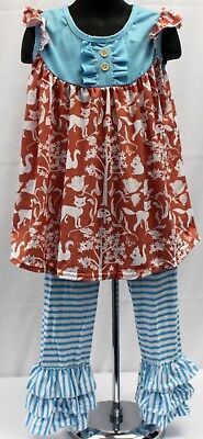 NWT Girls size 4 ADORABLE 2 Piece RUFFLED Stripped Pull on PANTS & Tunic Outfit