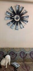Metal Black Silver Big Large Windmill Vintage Indoor  Home Decor Art Wall Clock