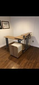 Adjustable computer desk & rolling file storage unit