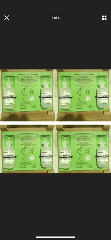 Qty 1 Case of 4: Honeywell Eye Wash Wall Stations w/ 2 16oz Bottles Per Station