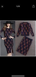 Autumn winter women two pieces sweater set pencil skirt Kangaroo